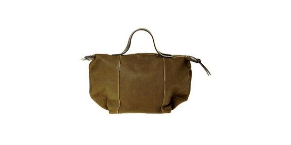 Dámska tmavo zelená kožená kabelka Puntotres