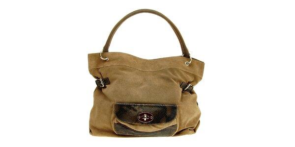 Dámska svetlo hnedá semišová kabelka Puntotres