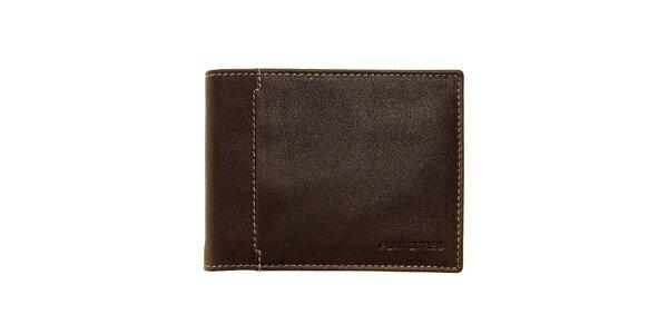 Pánska tmavo hnedá kožená peňaženka Puntotres