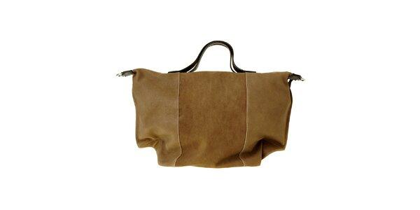 Dámska hnedá kožená kabelka Puntotres