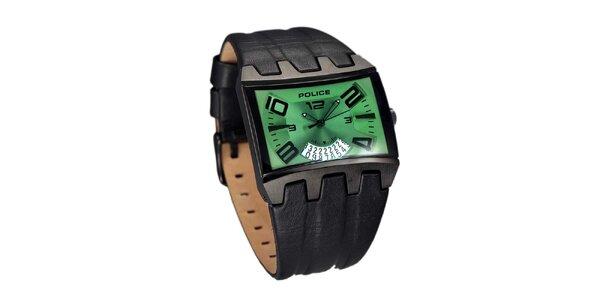 Pánske ocelové hodinky so zeleným ciferníkom Police