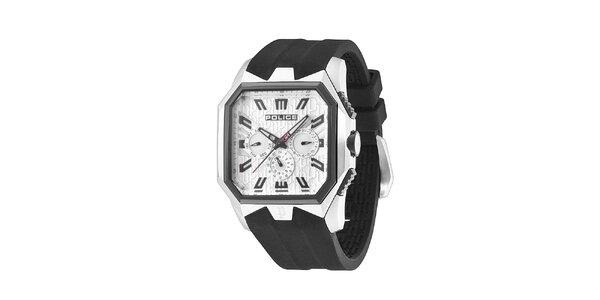 Pánske čierno-biele hodinky s pryžovým remienkom Police