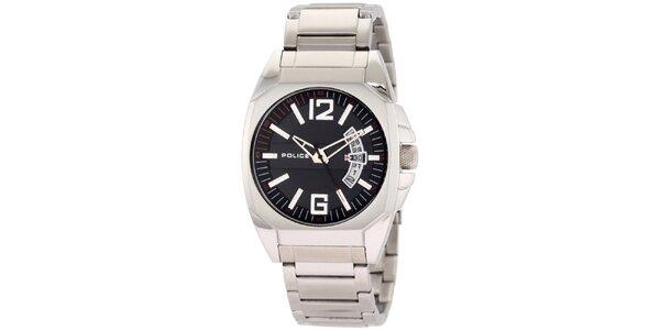 Pánske ocelové hodinky s čiernym okrúhlym ciferníkom Police