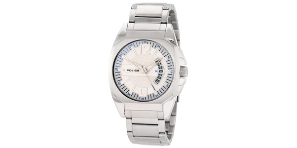 Pánske ocelové hodinky so smotanovým okrúhlym ciferníkom Police