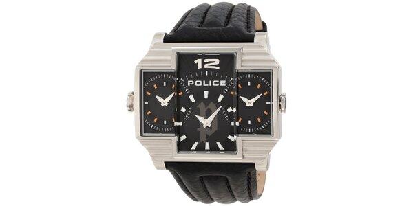 Pánske svetlé ocelové hodinky s koženým čiernym remienkom Police