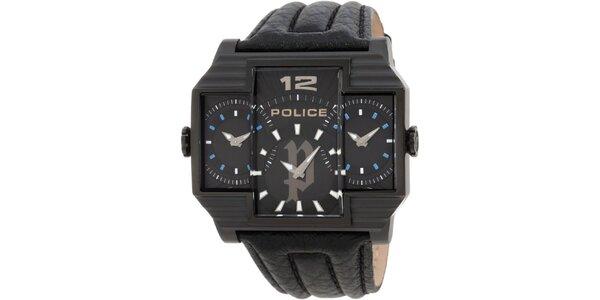 Pánske čierne ocelové hodinky s koženým čiernym remienkom Police