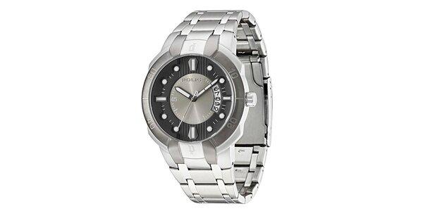 Pánske ocelové hodinky s tmavým okrúhlym ciferníkom Police