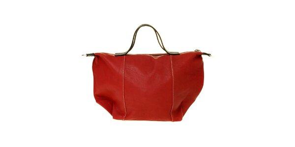 Dámska čerešňová kožená kabelka Puntotres