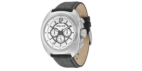 Pánske hodinky s koženým čiernym remienkom Police