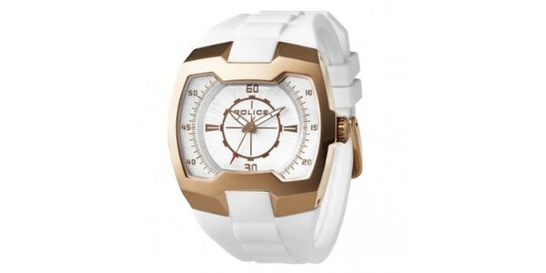 Pánske bielo-zlaté hodinky Police so silikónovým remienkom
