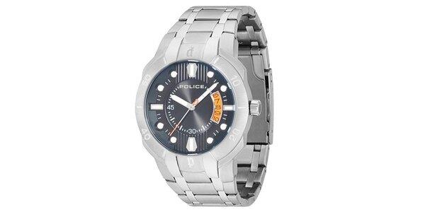 Pánske ocelové hodinky s modrým okrúhlym ciferníkom Police