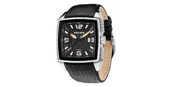 Pánske čierne hodinky s koženým remienkom Police
