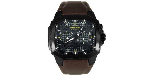 Pánske čierno-hnedé ocelové hodinky s koženým remienkom Police