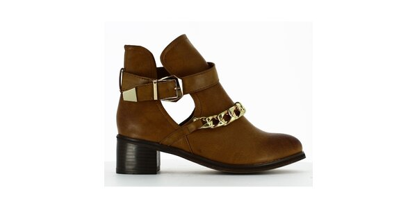 Dámske hnedé členkové topánky s retiazkou Shoes and the City