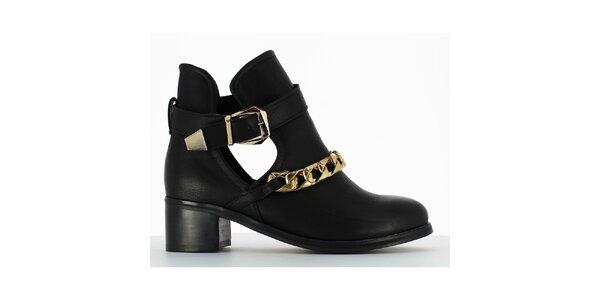 Dámske čierne členkové topánky s retiazkou Shoes and the City
