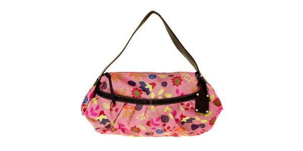 Dámska ružová kabelka Puntotres s potlačou
