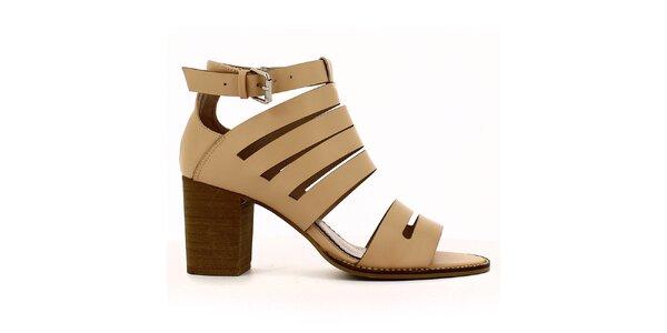Dámske svetlé sandále na opätku Shoes and the City