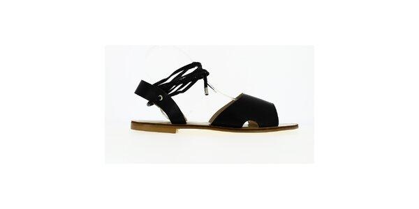Dámske čierne sandále so šnúrkou Shoes and the City
