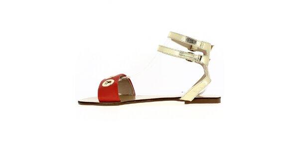 Dámske červeno-zlaté sandále Shoes and the City