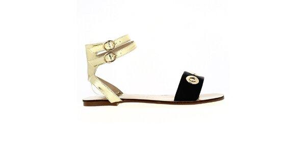 Dámske čierno-zlaté sandále Shoes and the City