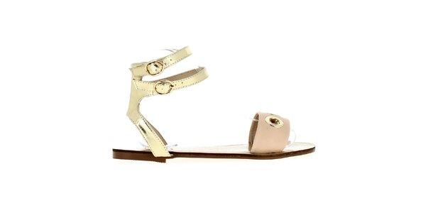 Dámske béžovo-zlaté sandále Shoes and the City