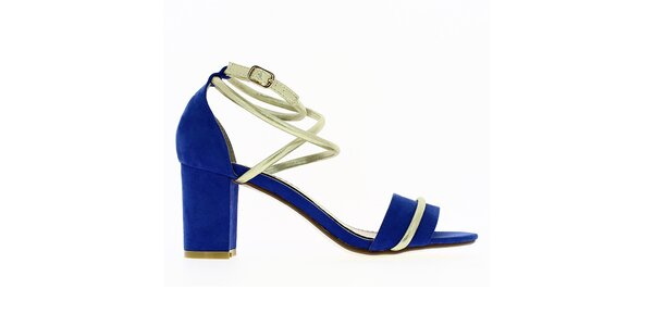 Dámske modré sandále s lesklým remienkom Shoes and the City