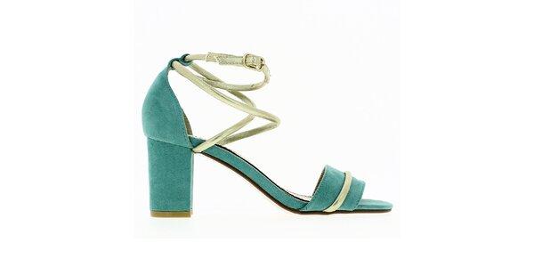 Dámske mint sandále s lesklým remienkom Shoes and the City
