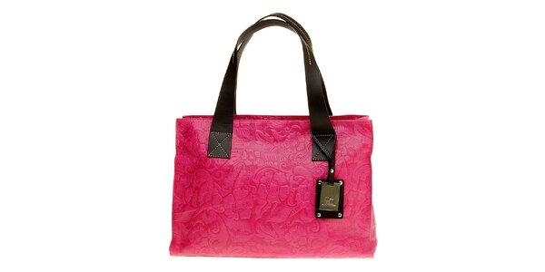 Dámska ružová kabelka Puntotres s plastickým vzorom