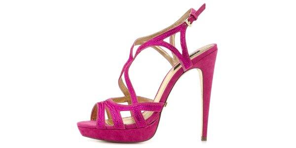 Dámske fuchsiové sandálky na vysokom opätku Blink
