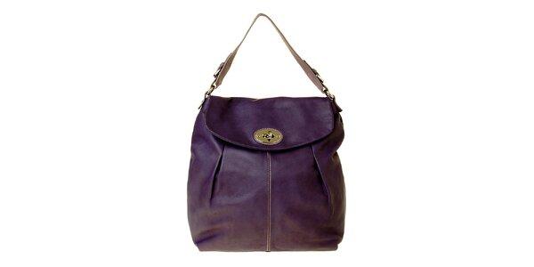 Dámska fialová kožená kabelka Puntotres