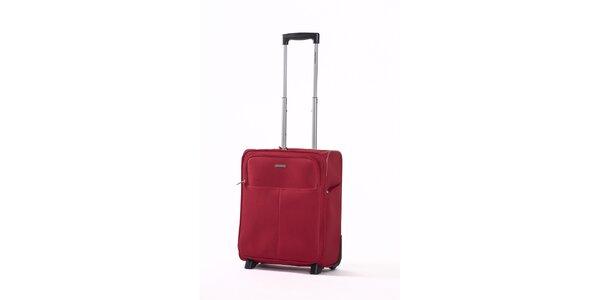 Červený kabínový kufor Ravizzoni s dvomi kolieskami
