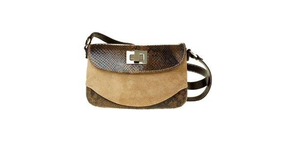 Dámska malá svetlo hnedá kabelka Puntotres s hadím motívom
