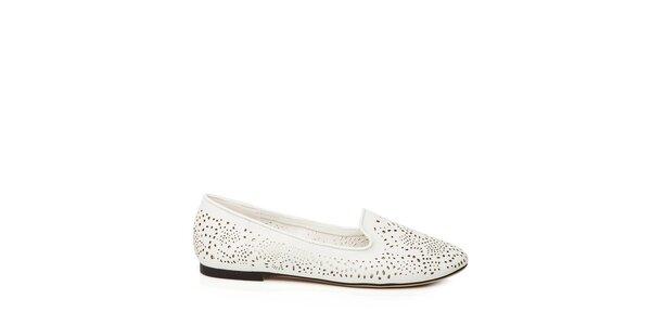 Dámske biele loafers s perforáciou Keddo