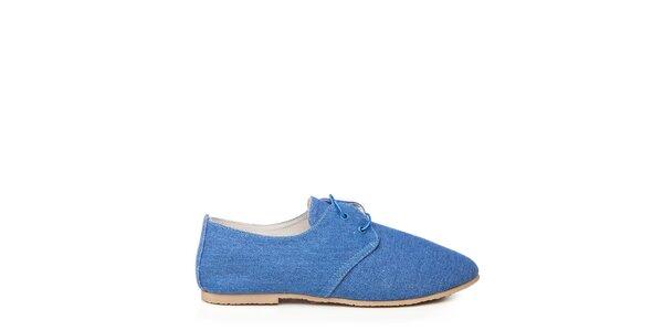 Dámske modré textilné poltopánky Keddo