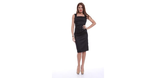 Dámske čierne šaty bez rukávov Ines