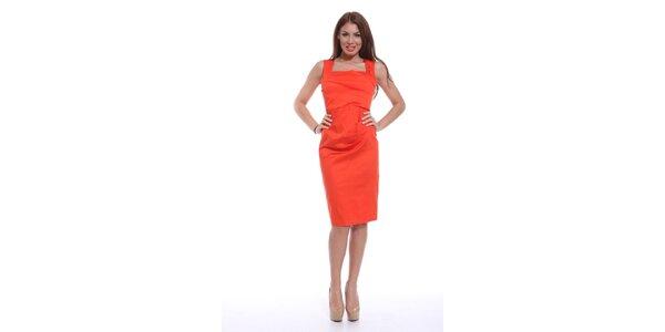 Dámske oranžové šaty bez rukávov Ines