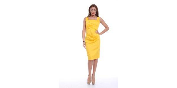 Dámske žlté šaty bez rukávov Ines