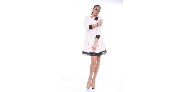 Dámske krémové šaty s čiernou čipkou Ines