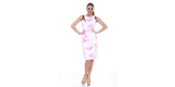 Dámske šaty s ružovou potlačou Ines