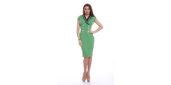 Dámske zelené šaty s gombíkmi Ines