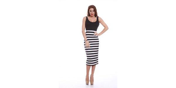 Dámske šaty s čierno-bielou pruhovanou sukňou Ines