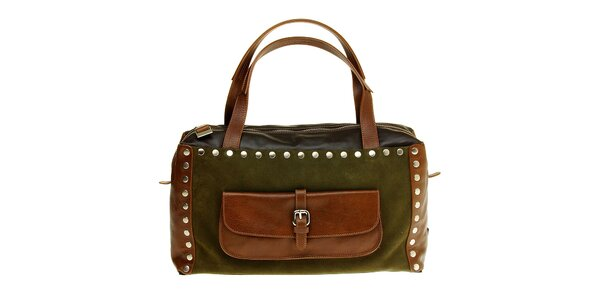Dámska zeleno-hnedá kabelka Puntotres kovovými cvokmi