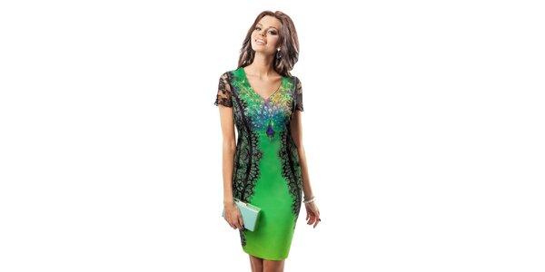 Dámske šaty s obrázkom páva Enny