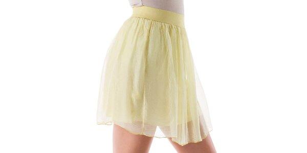 Dámska krátka žltá hodvábna sukňa Keysha