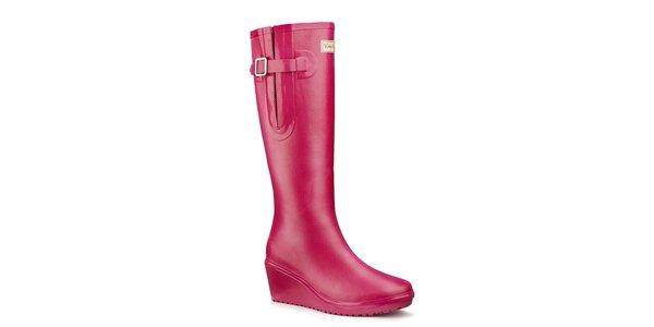 Dámske ružové flex čižmy Wedge Welly
