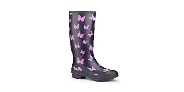 Dámske čierne čižmy Splash by Wedge Welly s ružovými motýlmi