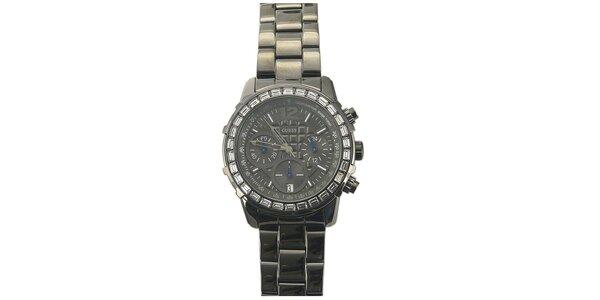 Dámske oceľové hodinky s kamienkami na lunete Guess