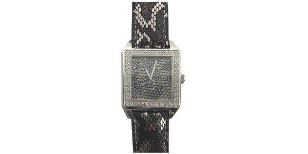 Dámske šedo-čierne hodinky s hadím motívom Guess