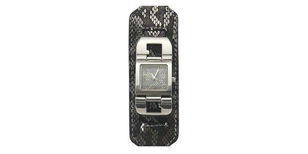 Dámske šedo-čierne hodinky s hadím motívom a pevným remienkom Guess