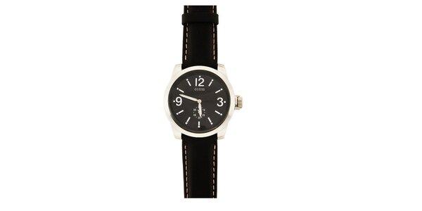 Pánske analógové hodinky s čiernym koženým remienkom Guess
